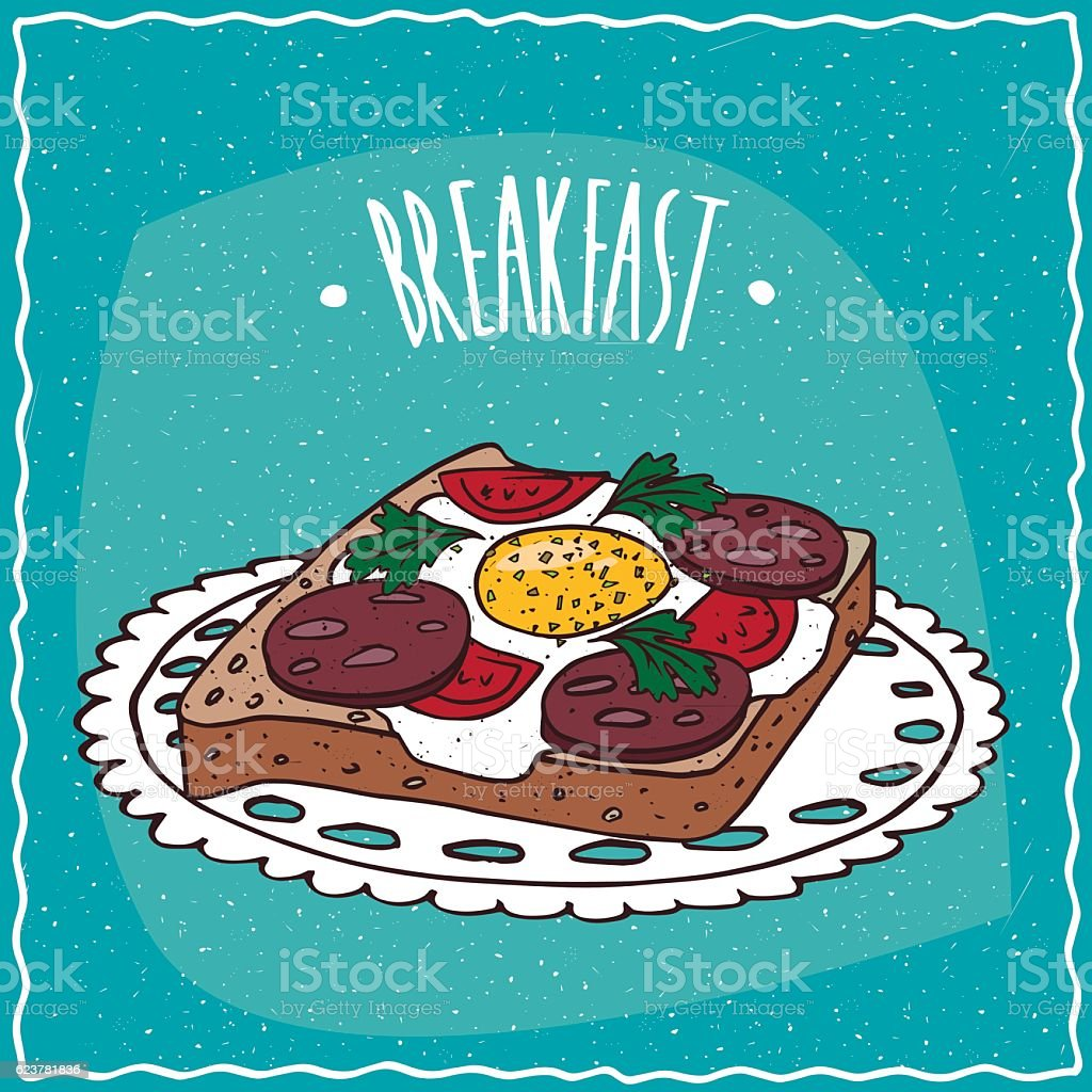 Toast with egg and sausage vector art illustration