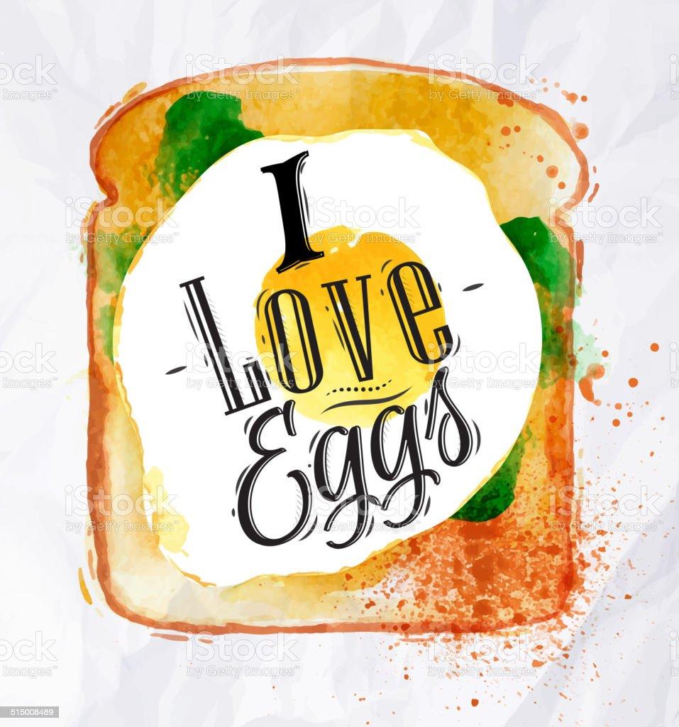 Toast with scrambled eggs vector art illustration