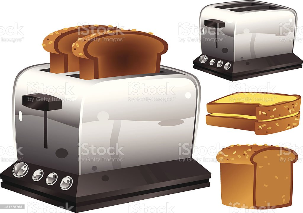 Toaster and bread royalty-free stock vector art