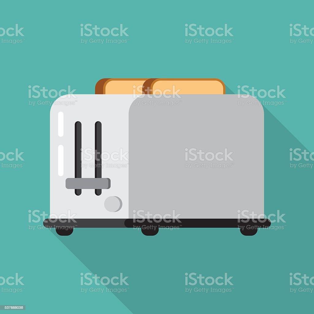 Toaster and bread vector art illustration