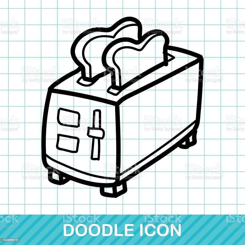 Toaster color doodle vector art illustration