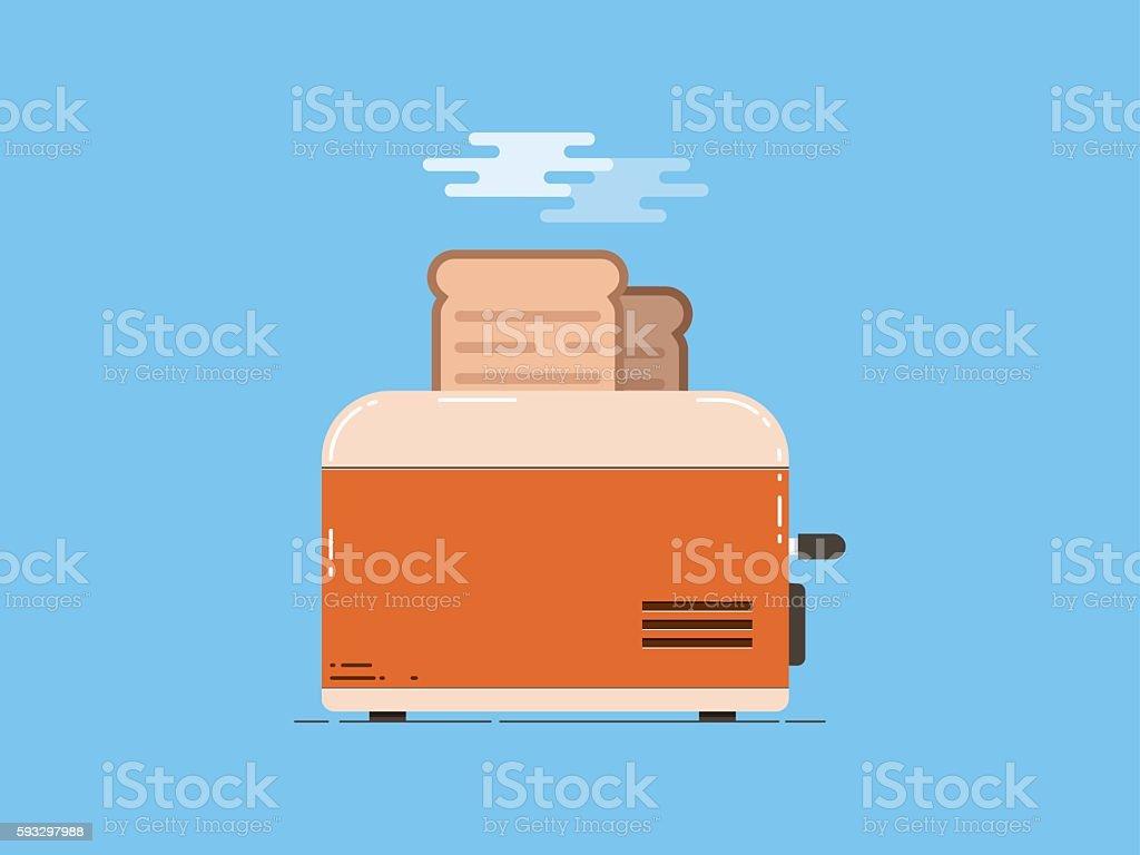 Toaster with bread, flat design vector art illustration