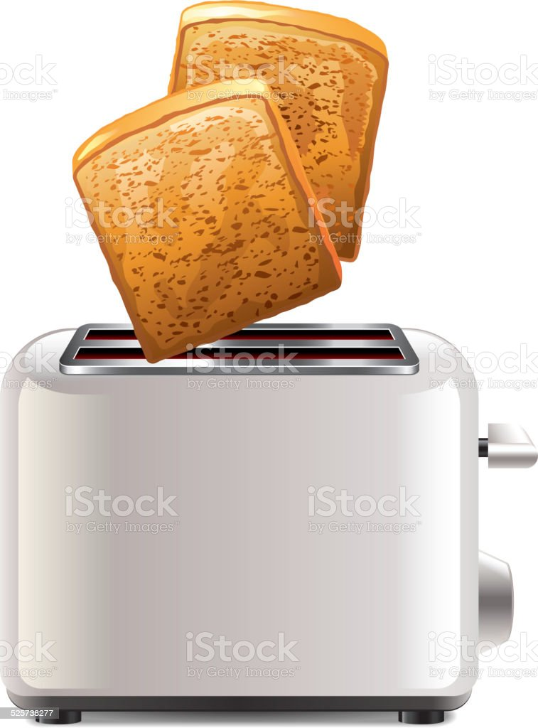 Toaster with toast isolated on white vector vector art illustration