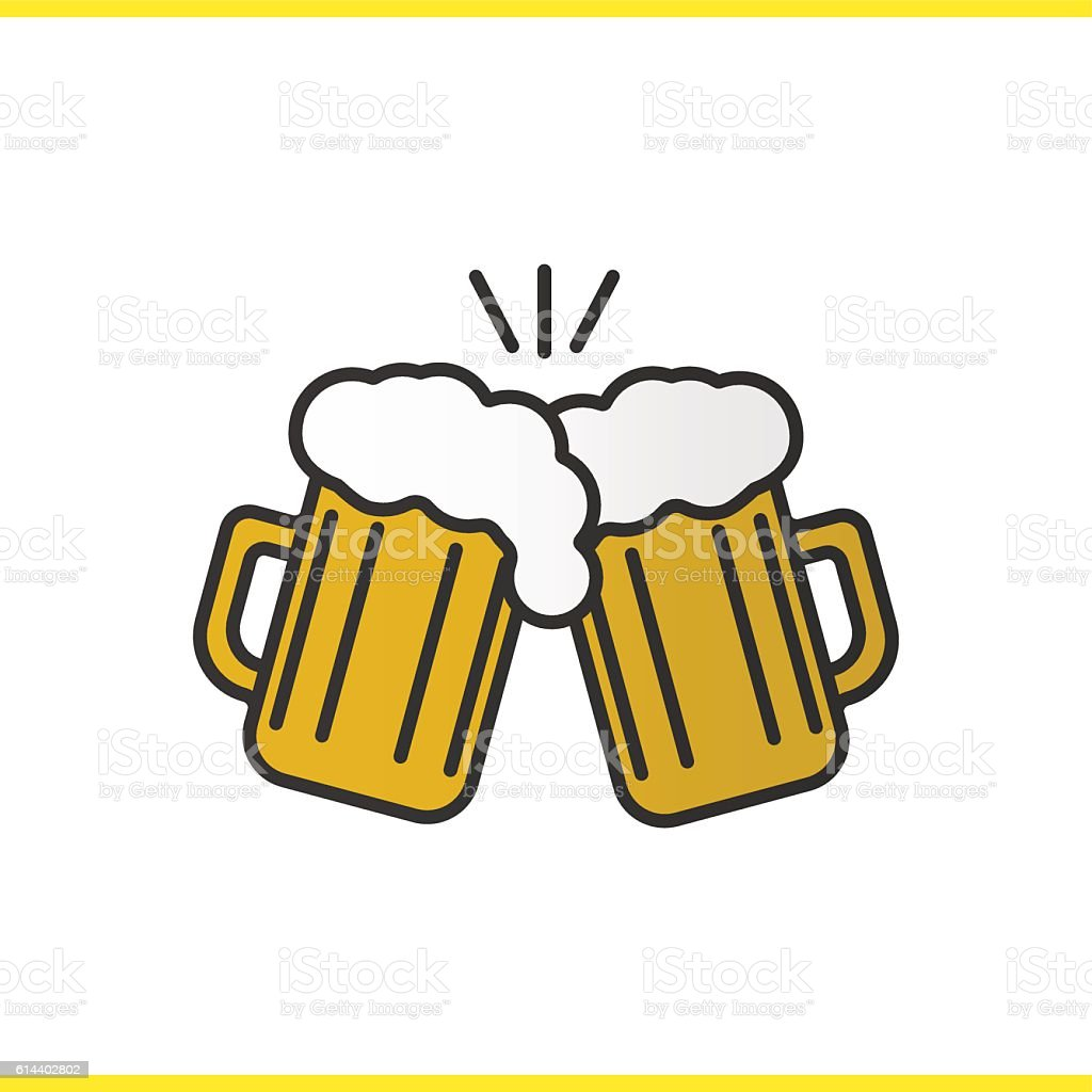 Toasting beer glasses icon vector art illustration