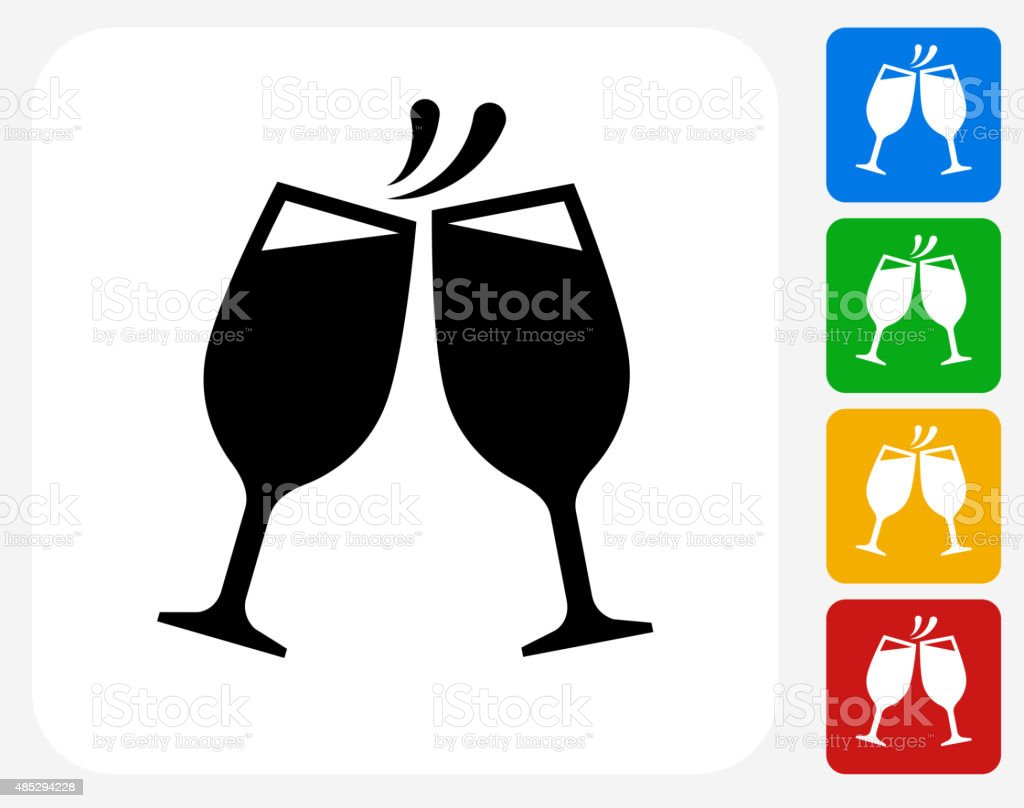 Toasting Glass Icon Flat Graphic Design vector art illustration