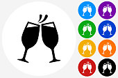 Toasting Glass Icon on Flat Color Circle Buttons