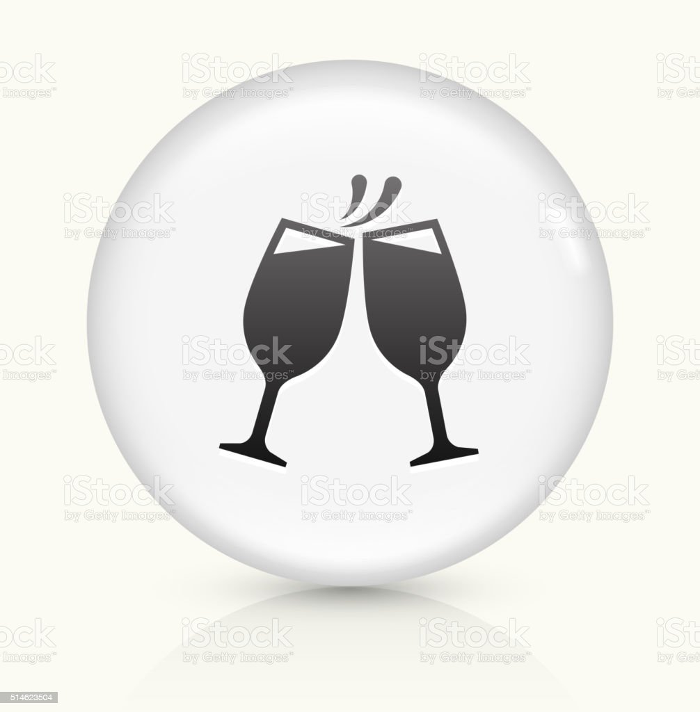 Toasting Glass icon on white round vector button vector art illustration