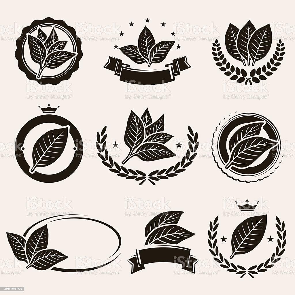 Tobacco leaf label and icons set. Vector vector art illustration