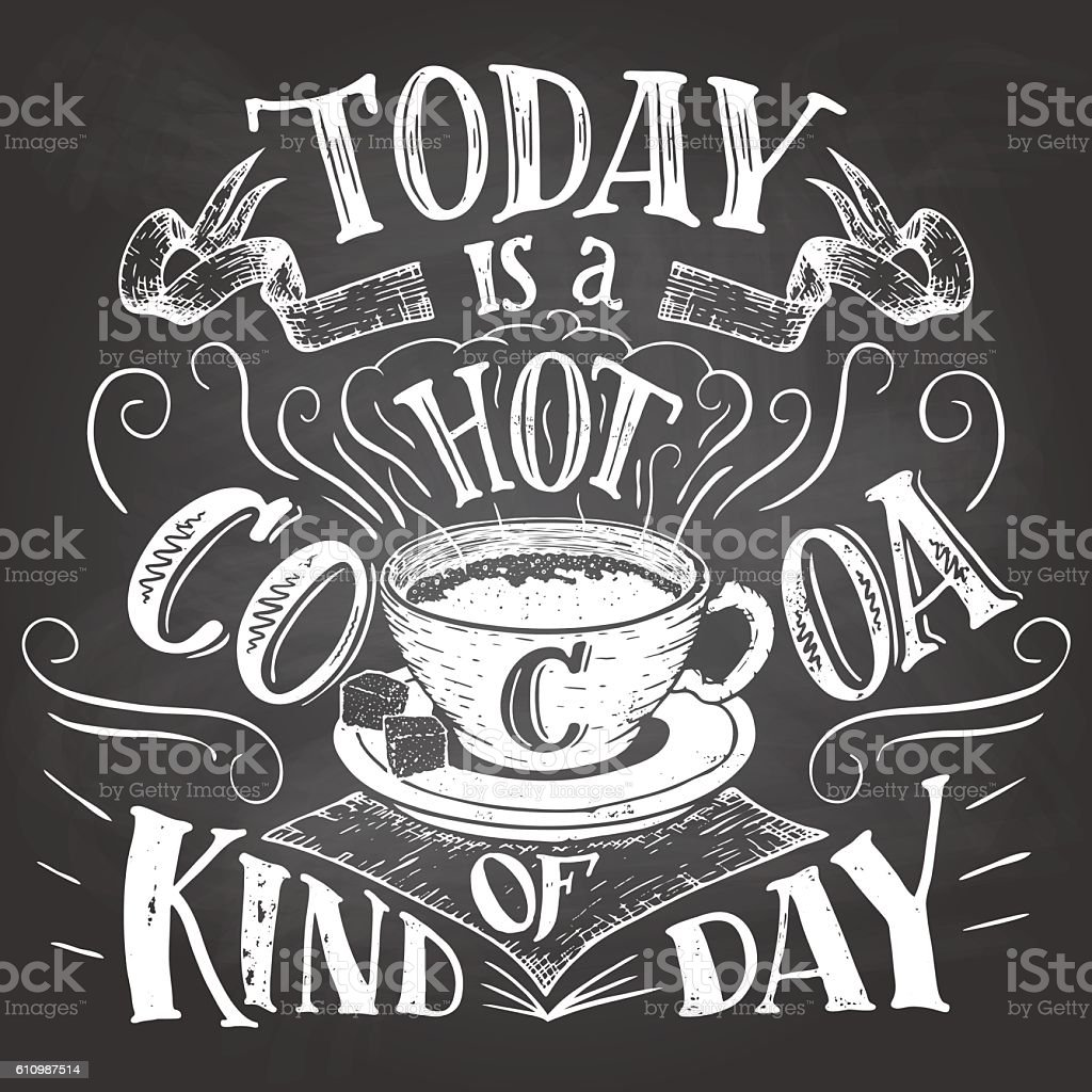 Today is a hot cocoa kind of day chalkboard vector art illustration
