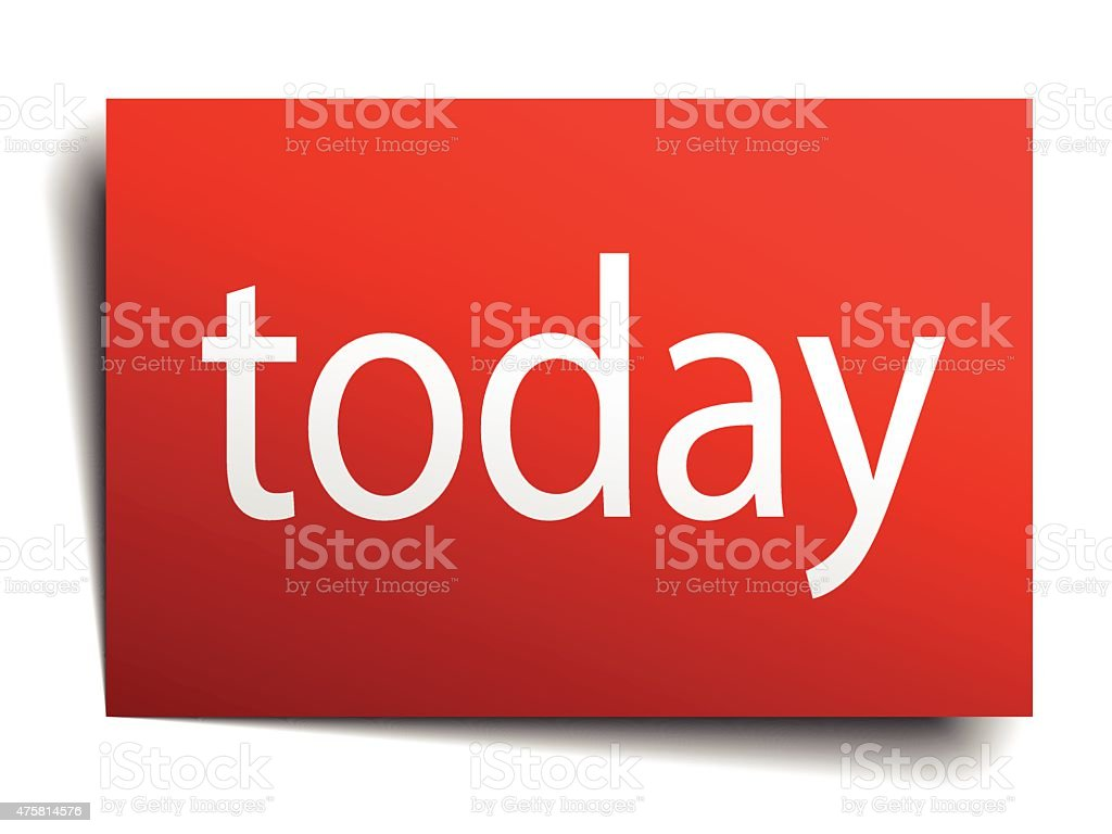 today red paper sign on white background vector art illustration