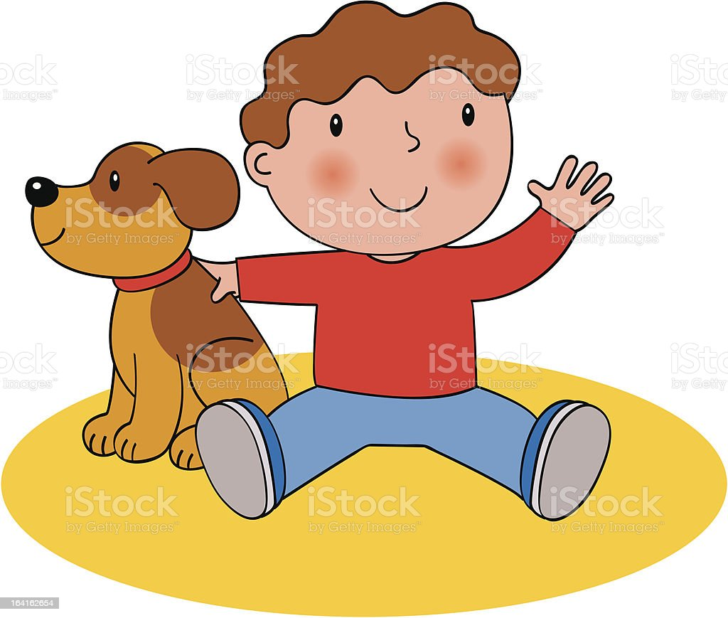 Toddler and puppy royalty-free stock vector art