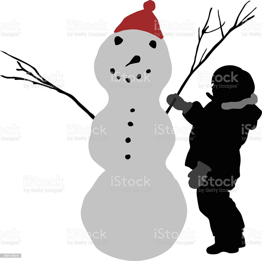 Toddler And Snowman vector art illustration