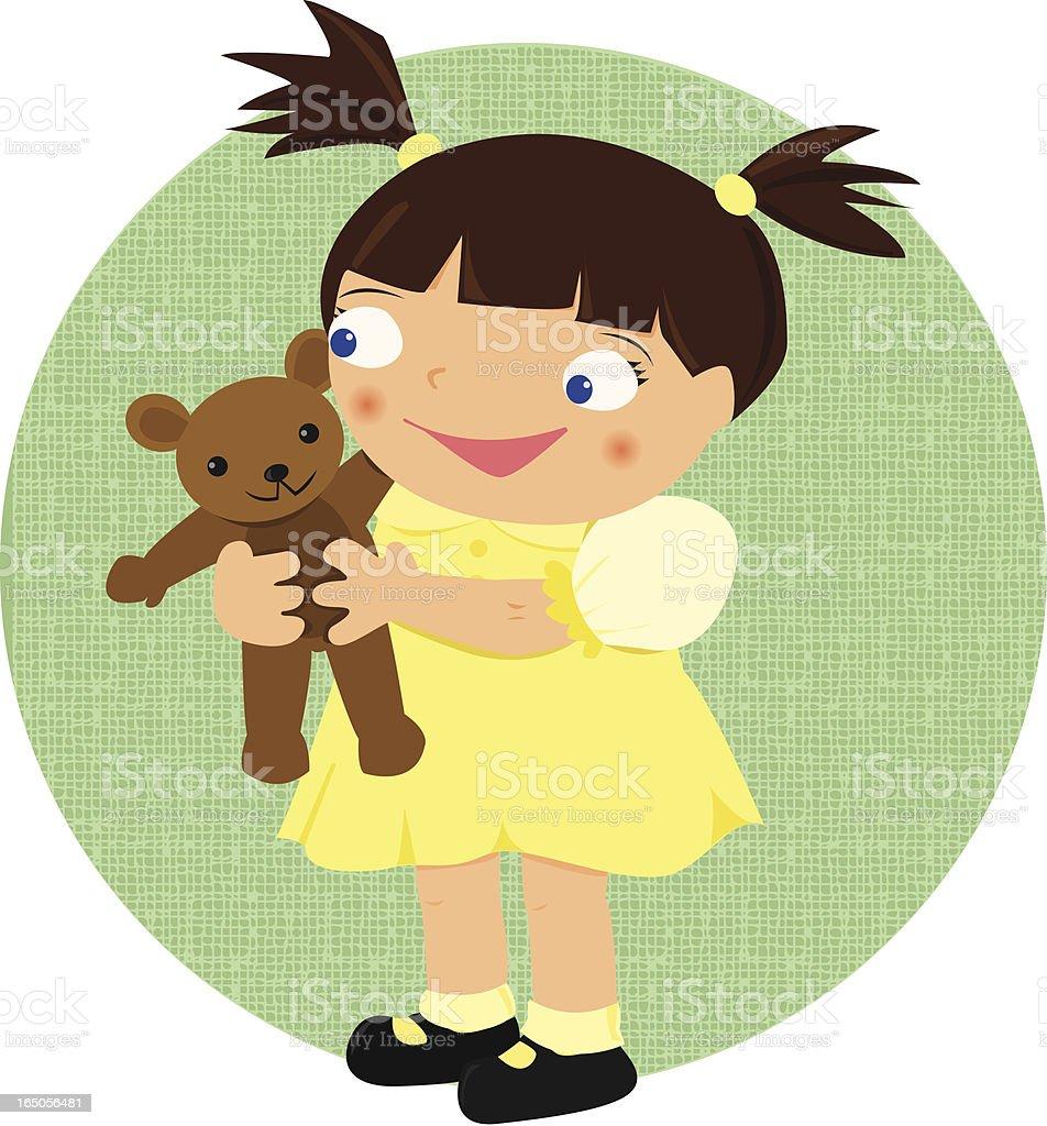 Toddler Girl with Teddy Bear royalty-free stock vector art
