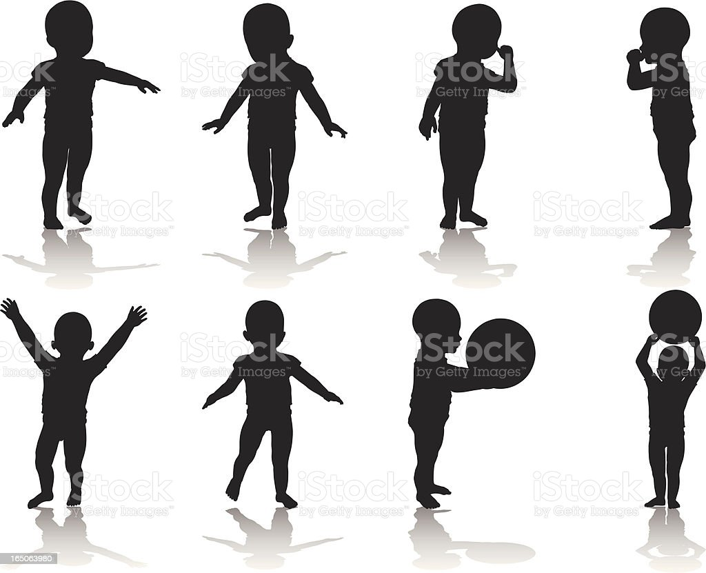 Toddler Silhouette Collection vector art illustration
