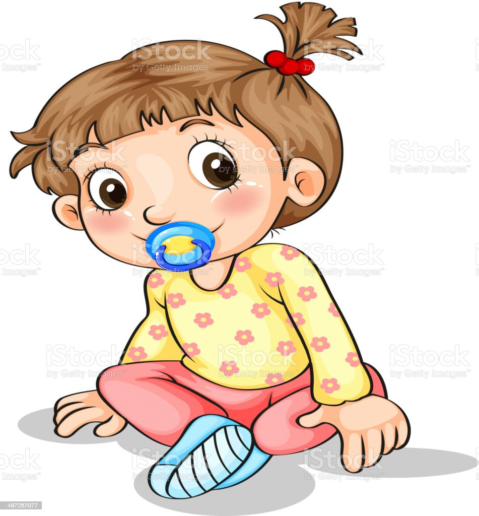 Toddler with a pacifier royalty-free stock vector art