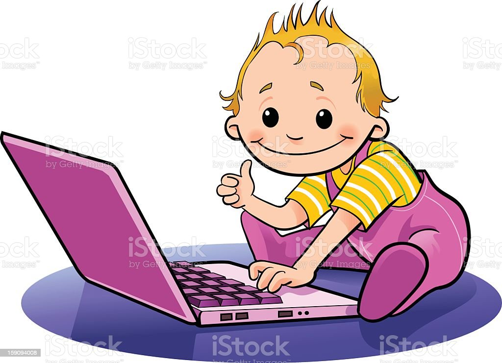 Toddler with Laptop stock photo