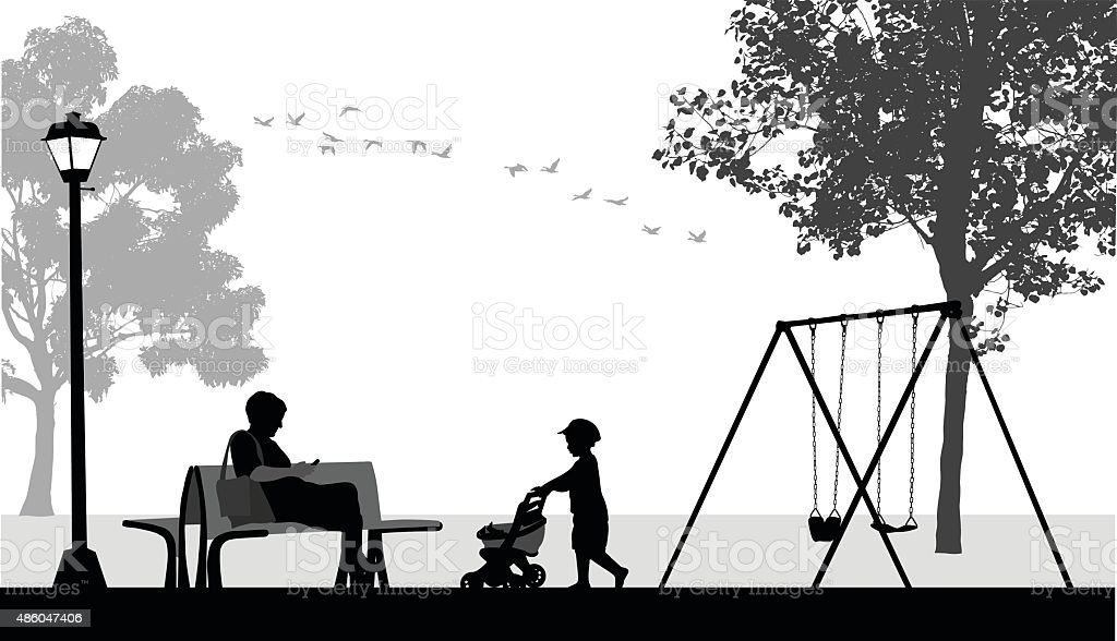 Toddler With Mom Texting At The Park vector art illustration