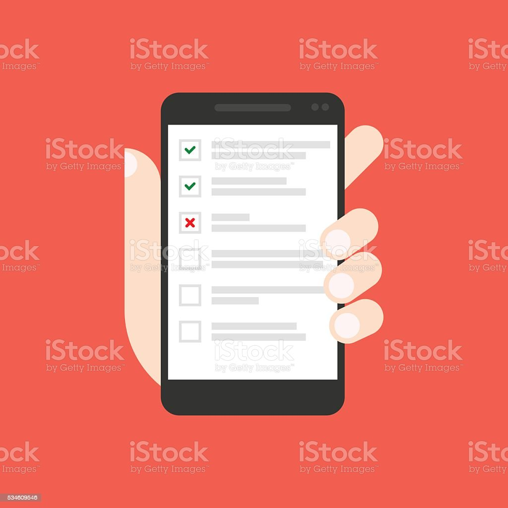 Todo list on smartphone screen vector art illustration