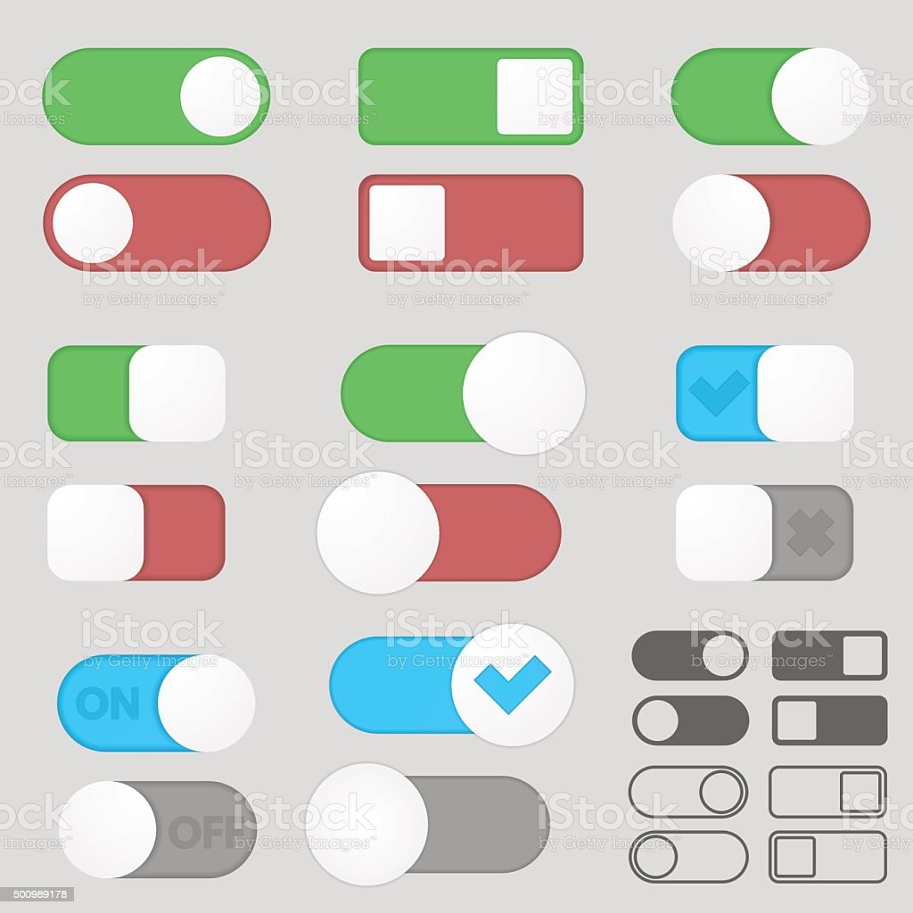 Toggle switch buttons pack. vector art illustration