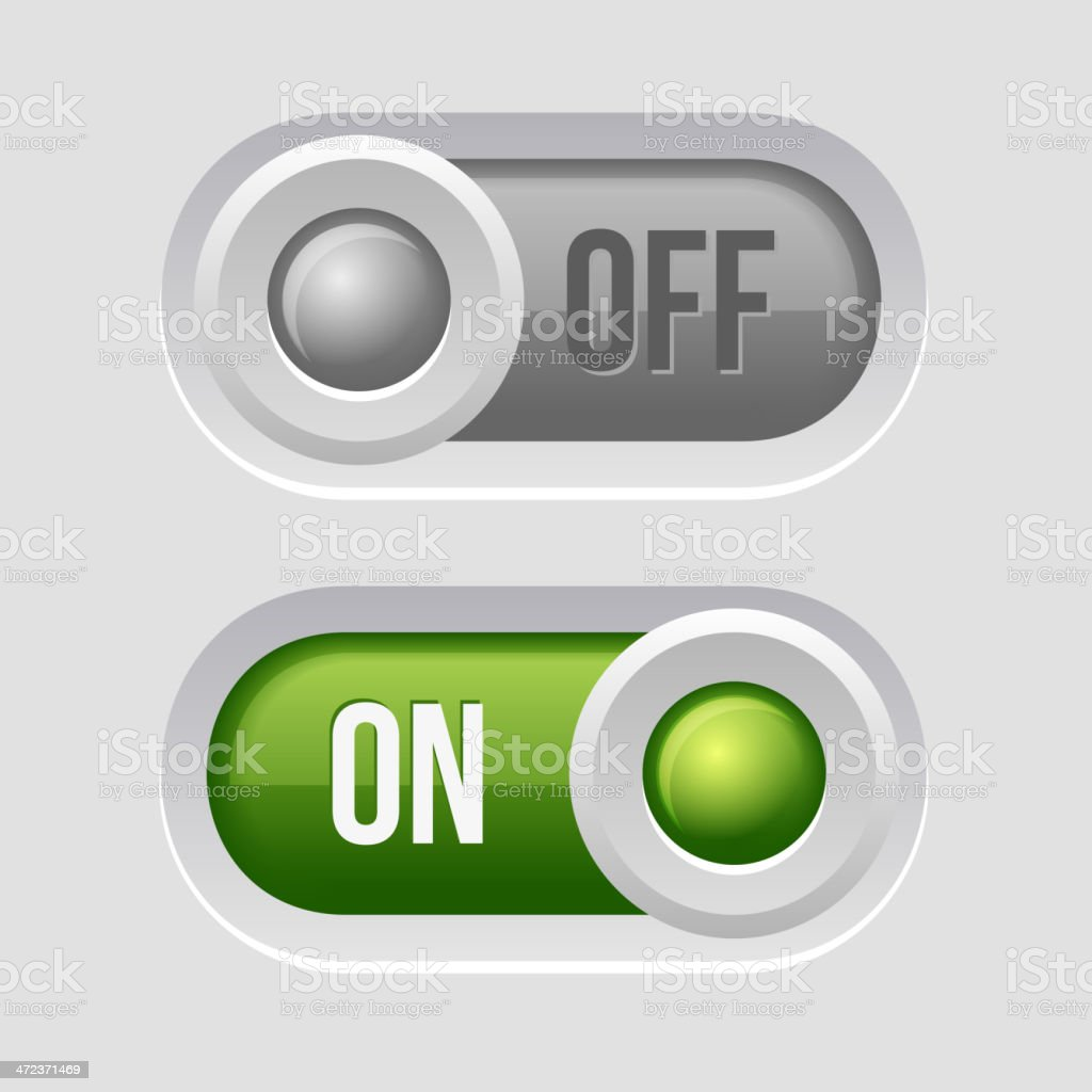Toggle Switch Sliders On and Off position. royalty-free stock vector art