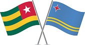 Togo and Aruba flags. Vector.