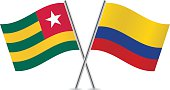 Togo and Colombia flags. Vector.