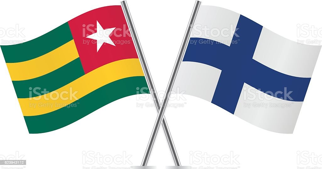 Togo and Finland flags. Vector. vector art illustration