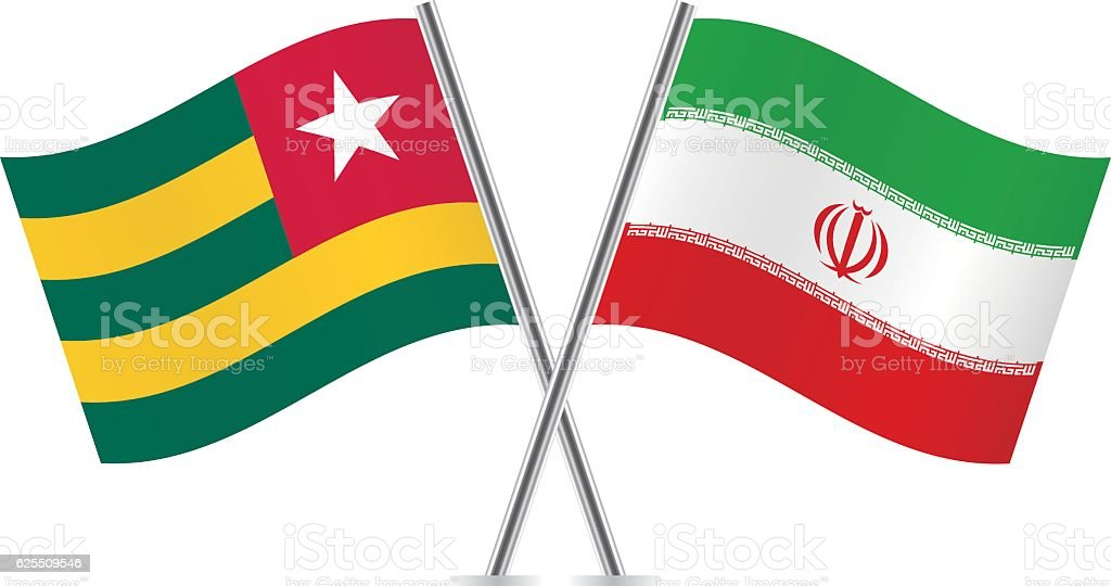 Togo and Iran flags. Vector. vector art illustration