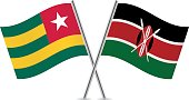 Togo and Kenya flags. Vector.
