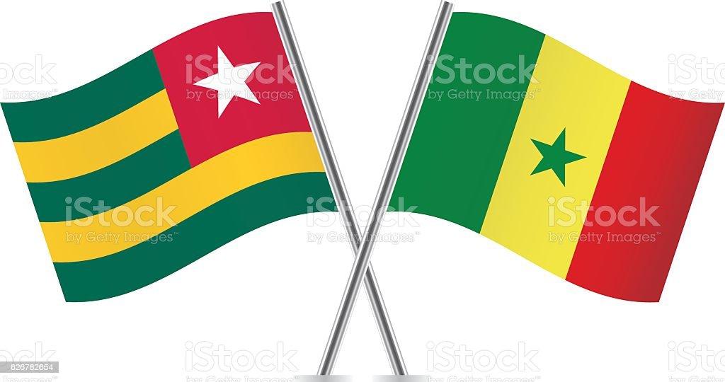 Togo and Senegal flags. Vector illustration. vector art illustration