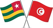 Togo and Tunisia flags. Vector.