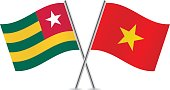 Togo and Vietnam flags. Vector.