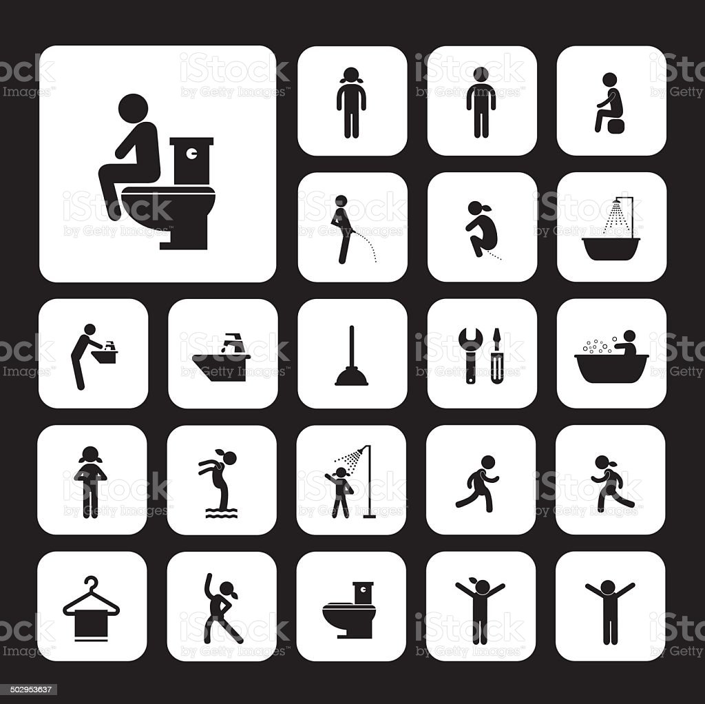 toilet and hygiene icons vector art illustration