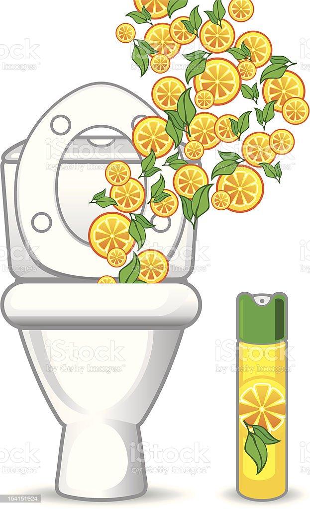 toilet and orange air freshener vector art illustration