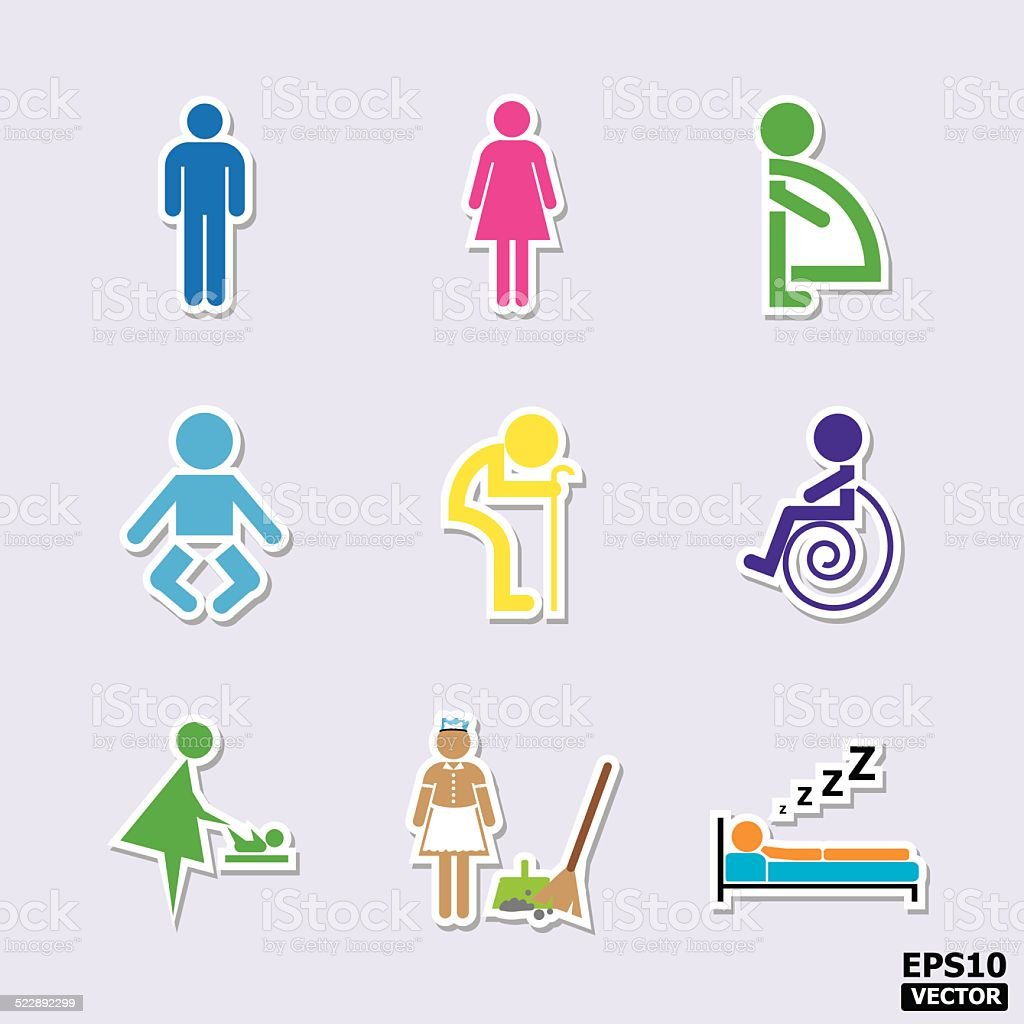 Toilet and Restroom icons or symbols set. royalty-free stock vector art