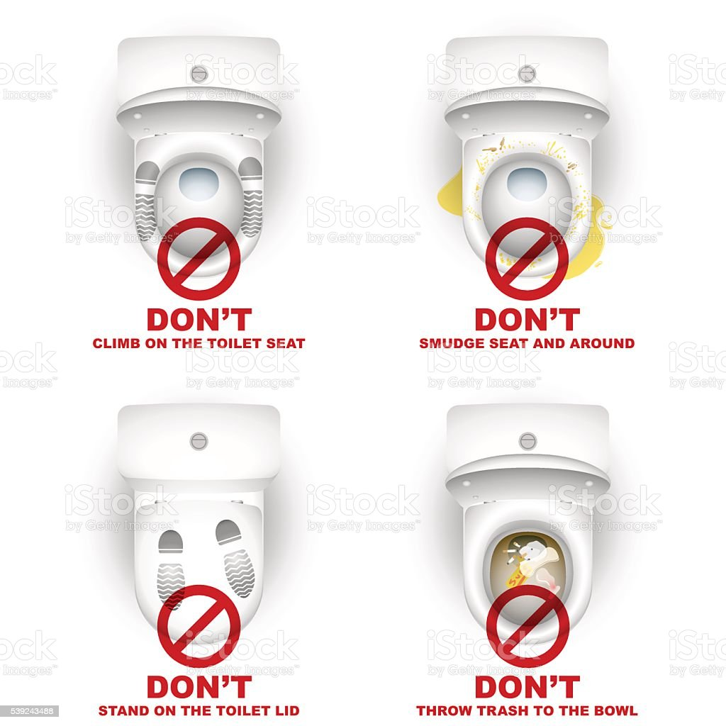 Toilet Bowl Closet Set Rules Warning Do not vector art illustration
