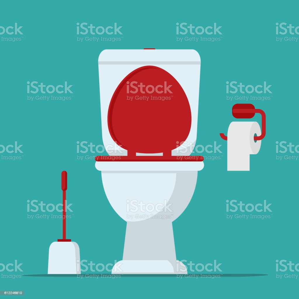 Toilet bowl, toilet paper and brush for toilet bowl. vector art illustration