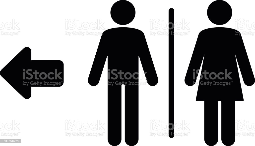 Toilet flat icon and arrow vector art illustration