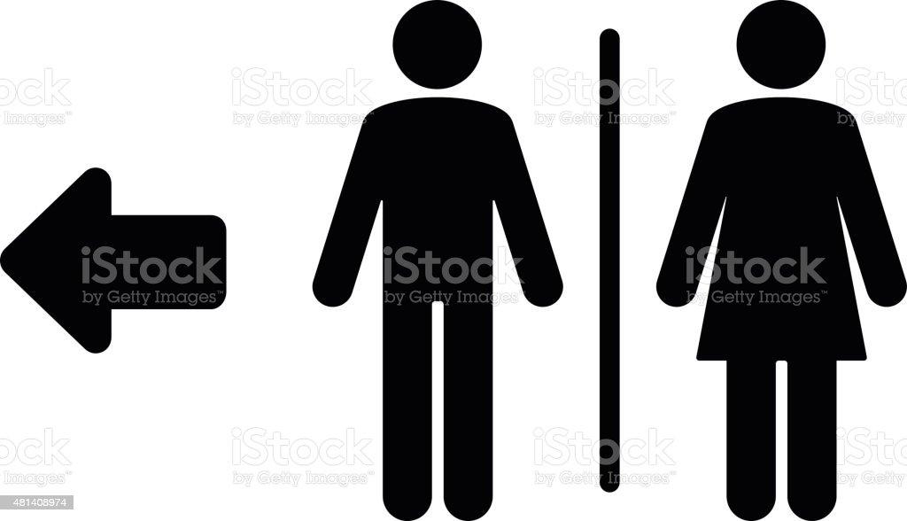 Toilet flat icon and arrow vector art illustration