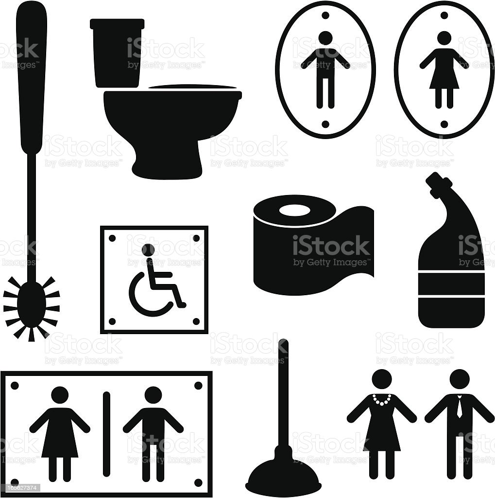 Toilet items royalty free stock vector art. Toilet Items stock vector art 165627374   iStock