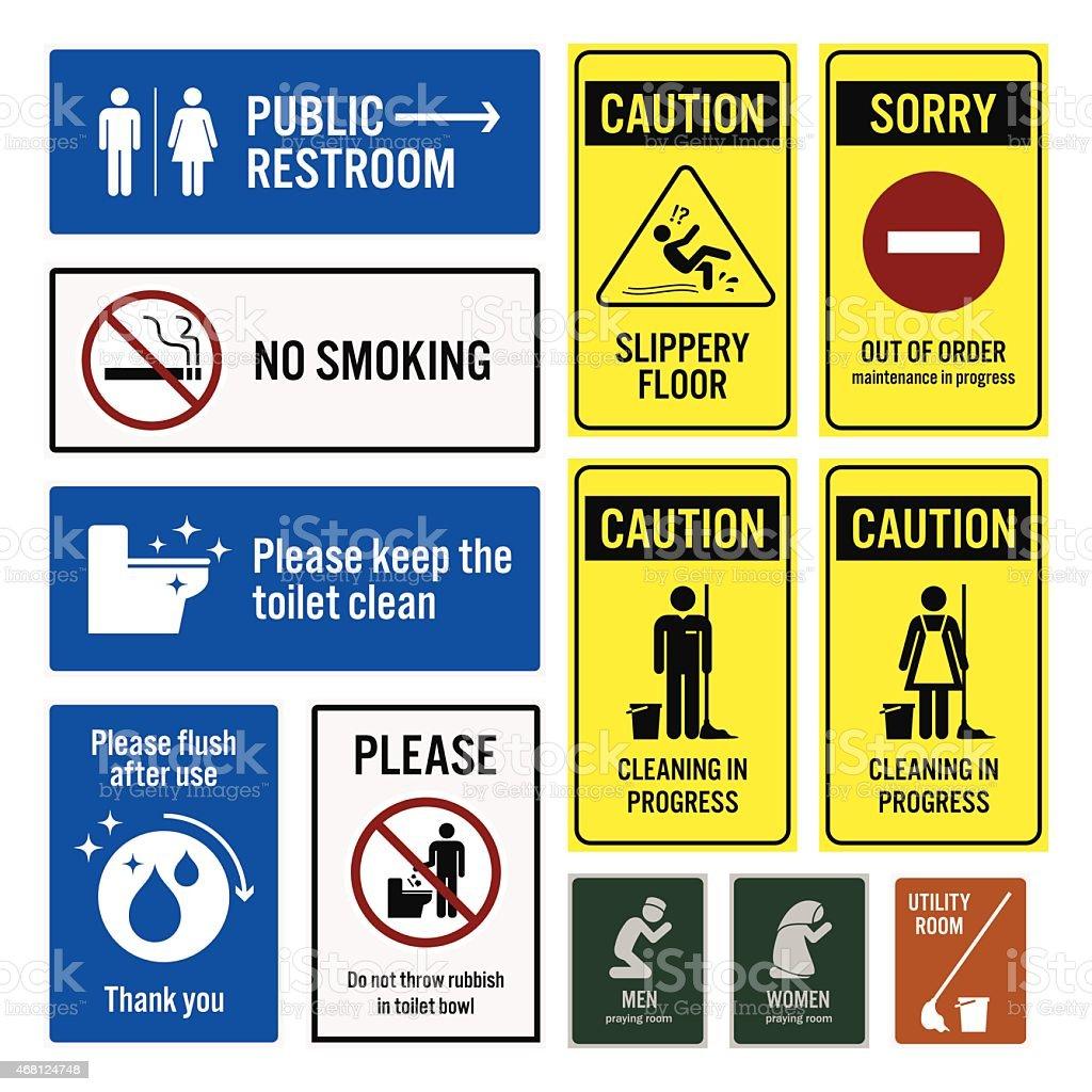 Toilet Notice and Restroom Warning Sign Signboards vector art illustration