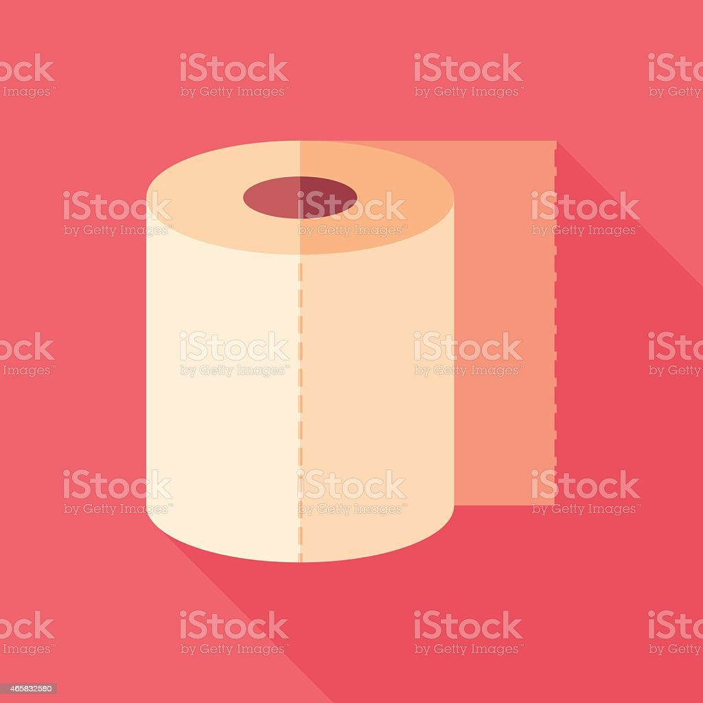 Toilet paper flat square icon with long shadows. vector art illustration