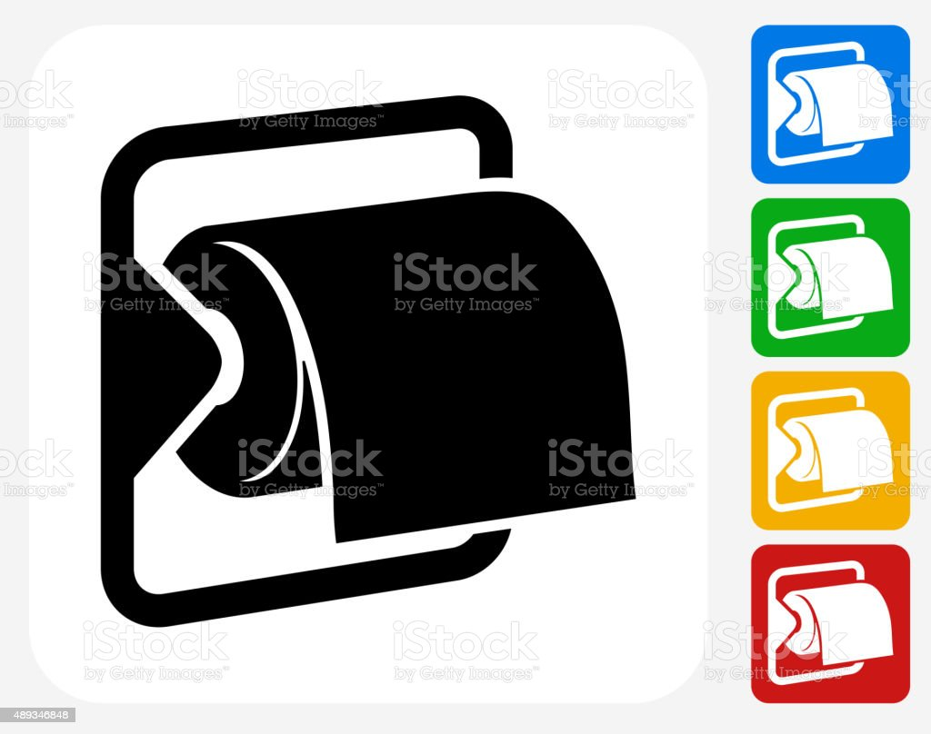 Toilet Paper Icon Flat Graphic Design vector art illustration