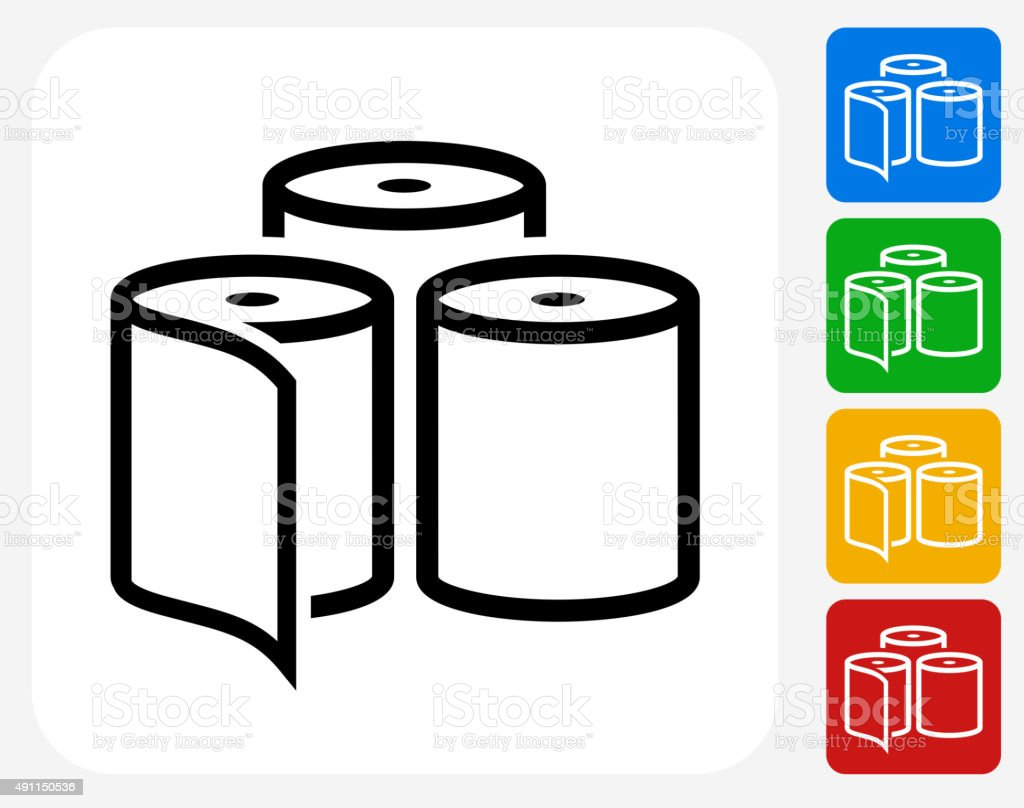 Toilet Paper Icon Flat Graphic Design vector art illustration
