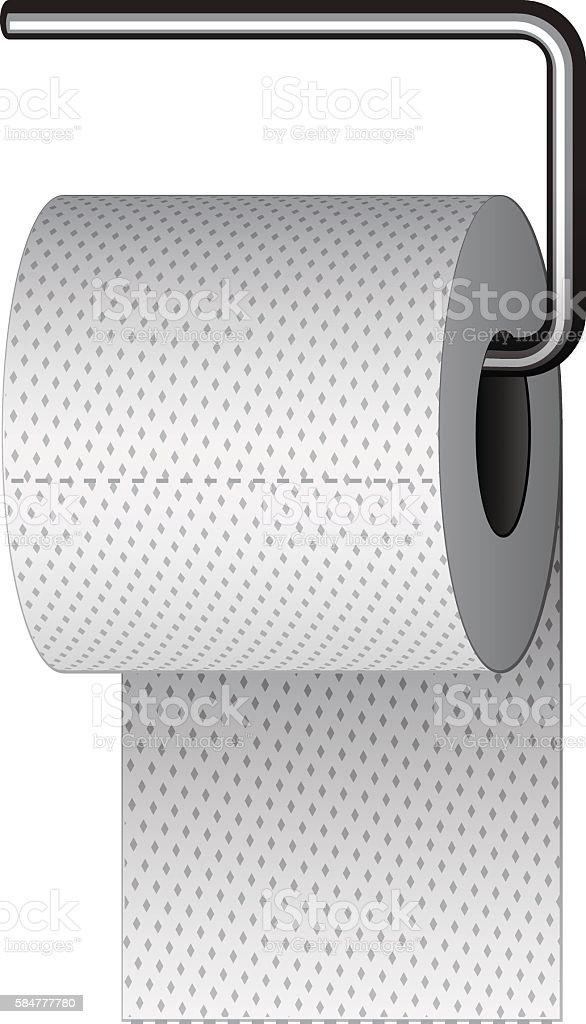 toilet paper on chrome holder vector art illustration