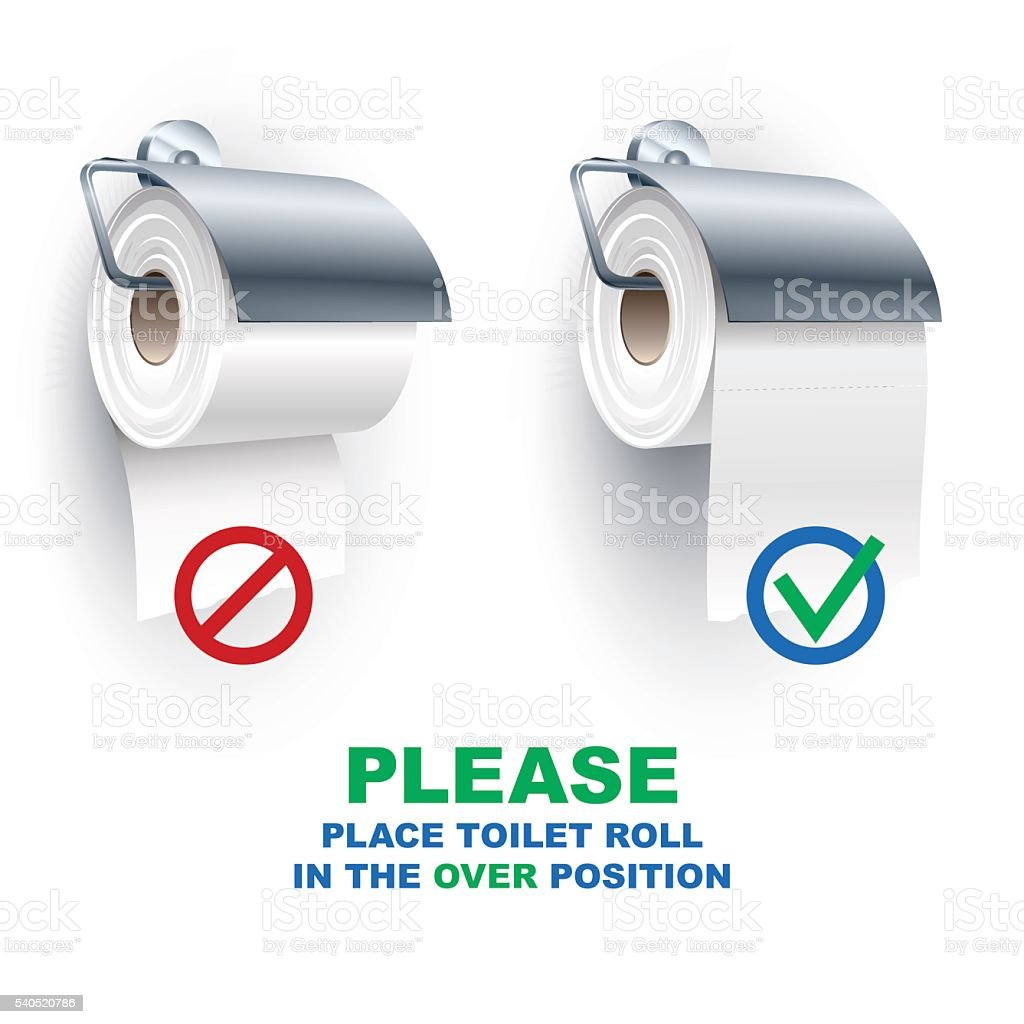 Toilet Paper Roll Spindle Under Over Position Rules vector art illustration
