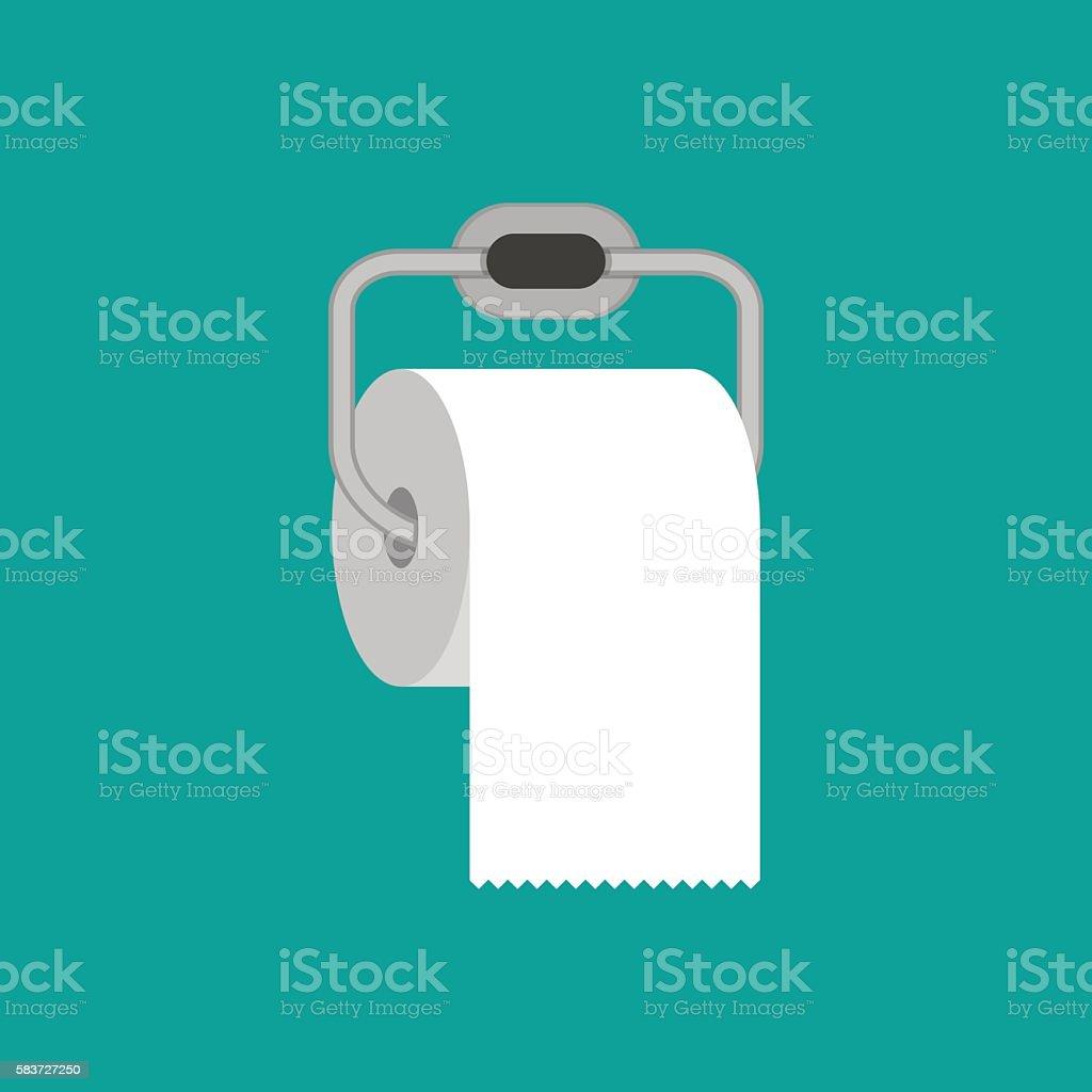 Toilet paper roll with metal holder vector art illustration