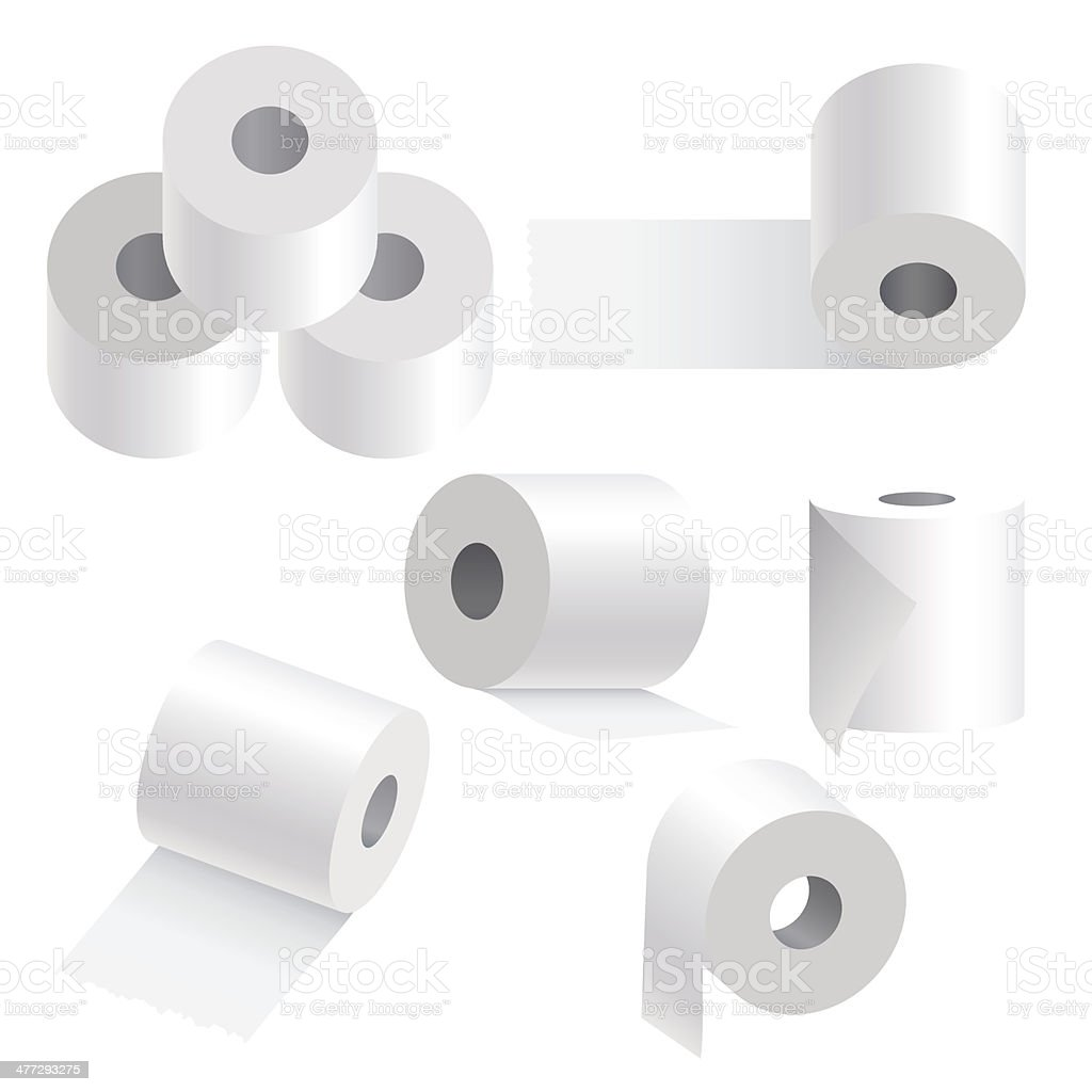 Toilet paper set on white background. vector art illustration