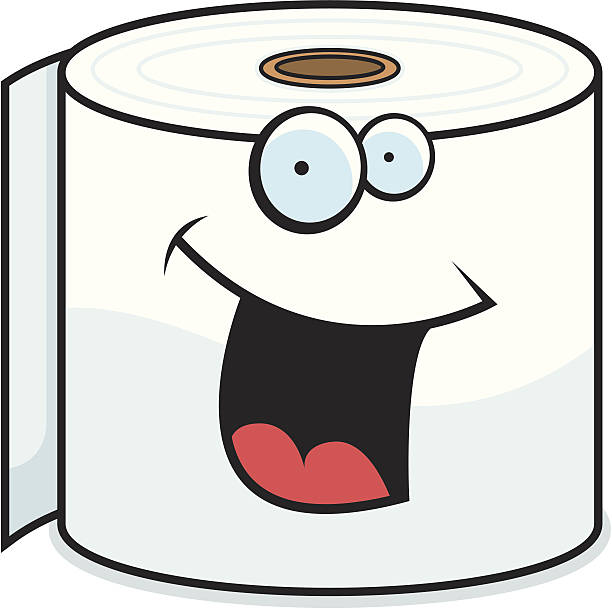 Happy Toilet Paper Cartoon Character Clip Art, Vector Images