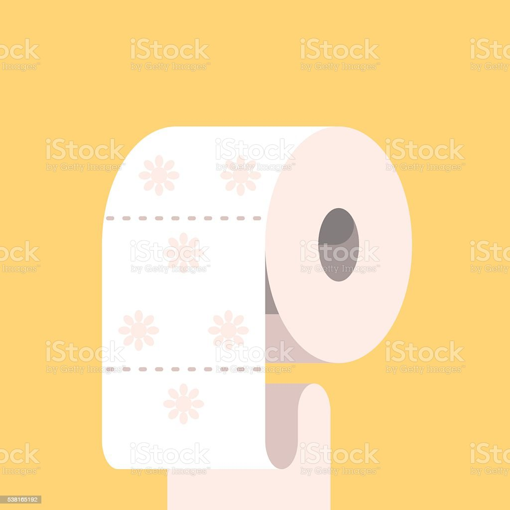 Toilet paper with flower symbol. vector art illustration